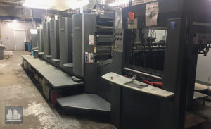 máquina de impressão Heidelberg Speedmaster SM 102-4P3+L (ano 2005)